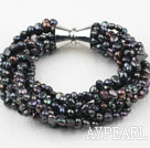 Multi Strands 3-4mm Black Freshwater Pearl Bracelet with Big Magnetic Clasp