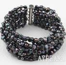 Wholesale Multi Strands Black Freshwater Pearl Bangle Bracelet