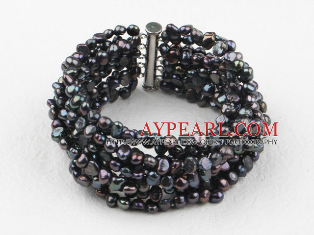 Multi Strands Black Freshwater Pearl Bangle Bracelet
