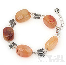 Wholesale natual agate tibet silver bracelet with extendable chain