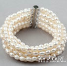 Wholesale Multi Strands Natural White Freshwater Rice Shape Pearl Bangle Bracelet