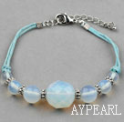 Wholesale Simple Design Opal Bracelet with Blue Thread and Lobster Clasp