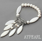 White Freshwater Pearl and White Shell Elastic Bracelet