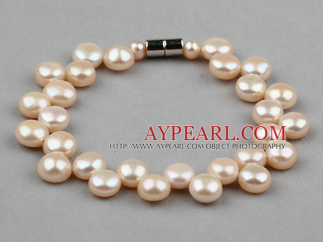 7-8mm Natural Pink Freshwater Mabe Pearl Bridal Bracelet with Magnetic Clasp