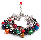 Fashion Multi Color Multi Gemstone Pärlor Charm Bracelet