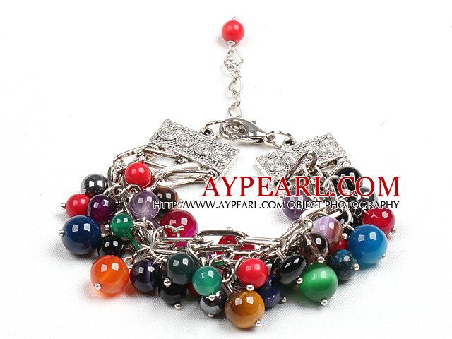 Fashion Multi Color Multi Gemstone Beads Charm Bracelet