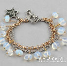 Wholesale New Design Charm Style Opal Bracelet with Metal Chain and Star Accessories