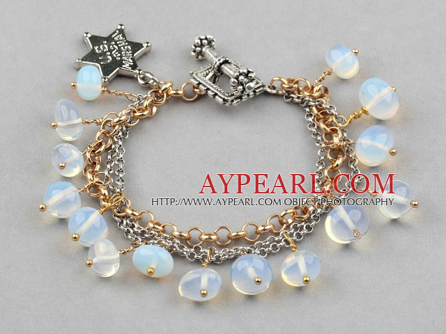 New Design Charm Style Opal Bracelet with Metal Chain and Star Accessories