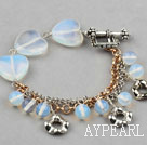 Heart Shape and Round Opal Bracelet with Metal Chain