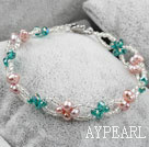 Ny design Purple Freshwater Pearl og Green Crystal armbånd
