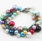 Assortert Multi Color Shell perler armbånd med Metal Chain