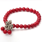 6mm Rund Red Coral Elastisk Bangle Bracelet med Metal Rose tilbehør
