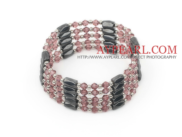 multi strand purple crystal magnetic bracelet