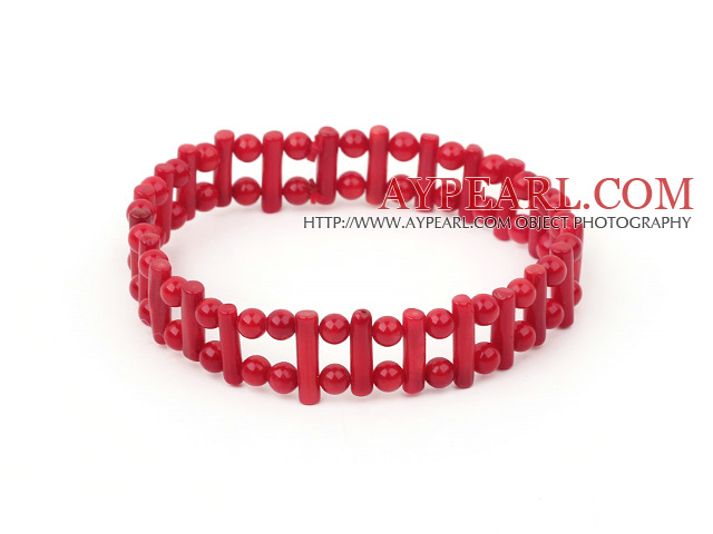 Fashion Double Strands Round And Firecracker Shape Red Coral Elastic Bangle