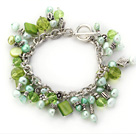 imitatation heart charm green pearl shell crystal bracelet