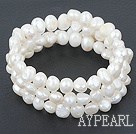 wrap style freshwater white pearl bracelet