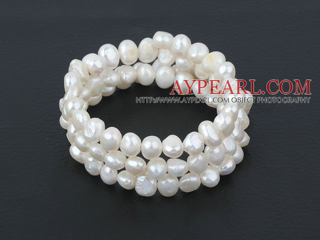 wrap style freshwater white pearl bracelet