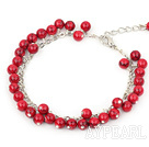 Wholesale 6m round red bloodstone bracelet with extendable chain