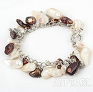 Wholesale 8-10mm pearl bracelet with metal chain and toggle clasp