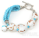 Wholesale blue turquoise heart colored glaze bracelet with toggle clasp