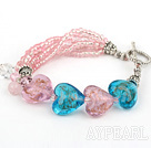 Wholesale lovely crystal heart colored glaze bracelet with toggle clasp