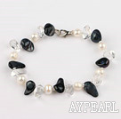 Discount pearl and white crystal bracelet with lobster clasp