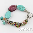 Wholesale blue turquoise purple crystal bracelet with toggle clasp