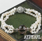Wholesale 3 strand natural white pearl and smoky quartze bracelet