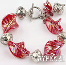 crystal colored galze and tibet silver bracelet with toggle clasp