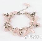 Wholesale 7.5 inshes rose quartze tibet silver charm bracelet with extendable chain