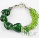 Wholesale green crystal heart colored glaze bracelet with toggle clasp