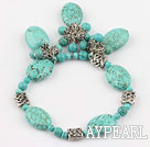 Wholesale beautiful turquoise elastic bracelet with turquoise pendant