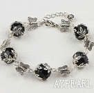 black crystal tibet silver butterfly bracelet with extendable chain