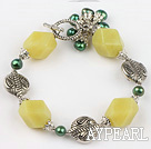 pearl and lemon jage bracelet with toggle clasp