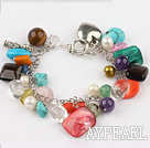 Wholesale multi color stone and crystal bracelet with toggle clasp