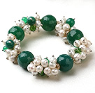 Wholesale Assorted White Freshwater Pearl and Big Green Agate Stretch Bracelet