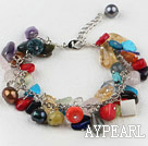Wholesale dyed multi color pear shell and stone chips bracelet with extendable chain