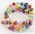 Wholesale 3 strand dyed colorful pearl bangle