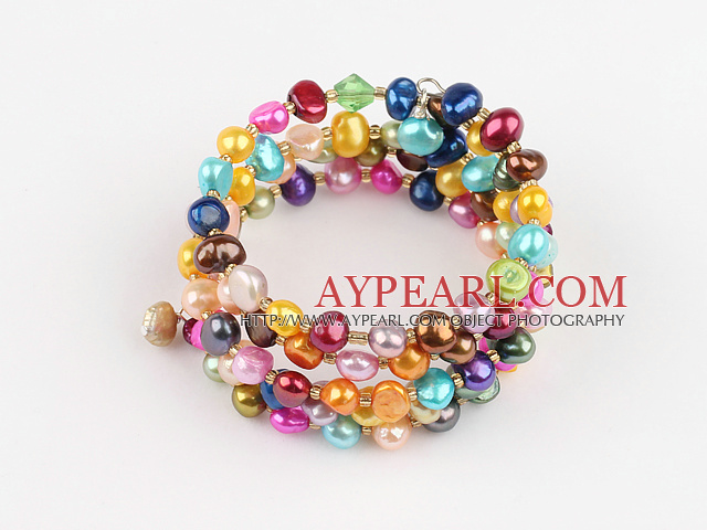 Nice Multi Strand Dyed Colorful Freshwater Pearl Wrap Bangle Bracelet