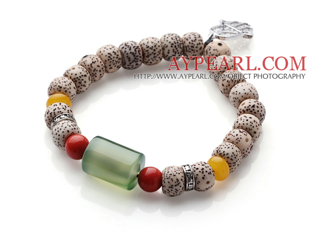 Vintage Style Single Strand Leaves the Bodhi Beads Coral Agate Bracelet With Charm