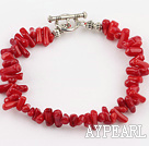 Red Coral Chips Bracelet with Toggle Clasp