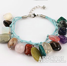 multi color stone and crystal bracelet with lobster clasp