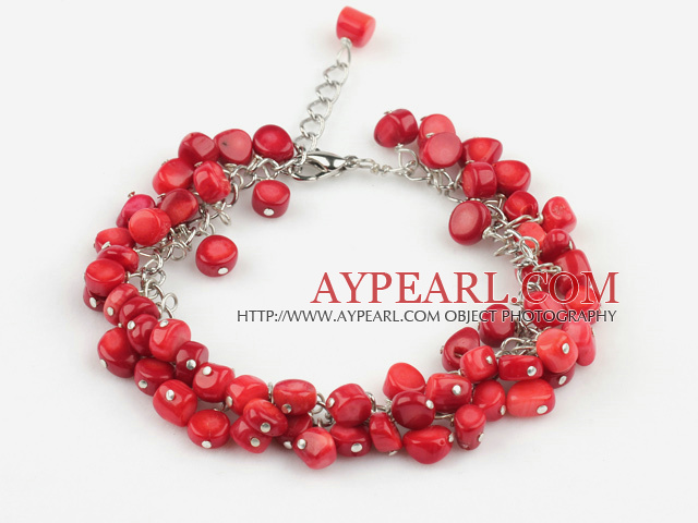 Nice Loop Chain Style Multi Red Coral Bracelet With Extendable Chain