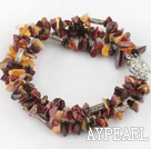 Multi Strand Silver Leaf Agate Chips Wrap Bangle Bracelet