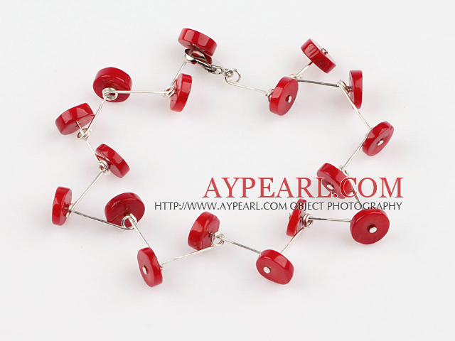 red color coral bracelet with lobster clasp