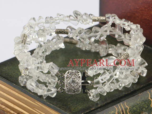 Multi Strand White Clear Crystal Chips Wrap Bracelet With 3-Row Clasp