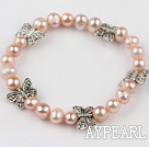 7-8Mm Natural Purple Freshwater Pearl Beaded Bracelet With Butterfly Metal Charm