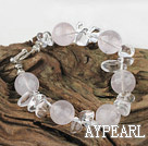 Wholesale beautiful white pearl and rose quartz bracelet with toggle clasp