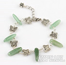 aventurine and butterfly charm bracelet with extendable chain