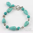 turquoise and tibet silver bracelet with toggle clasp